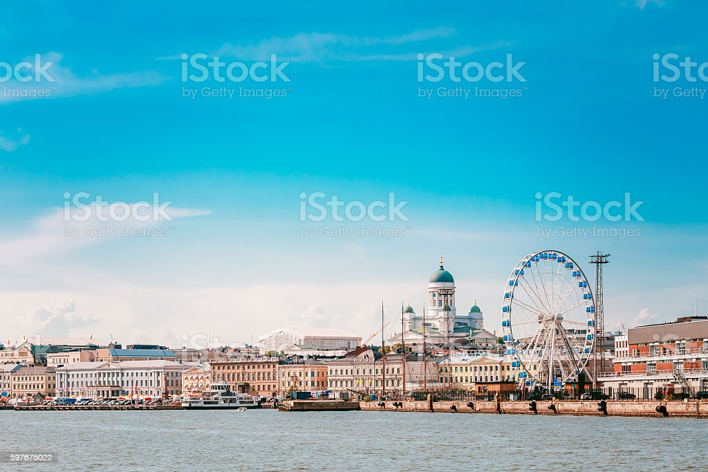 Embankment In Helsinki At Summer Sunny Day In Finland. Cityscape stock photo