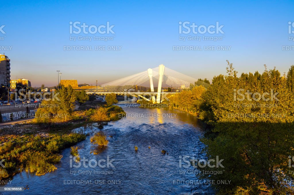Embankment in Lerida, Spain stock photo