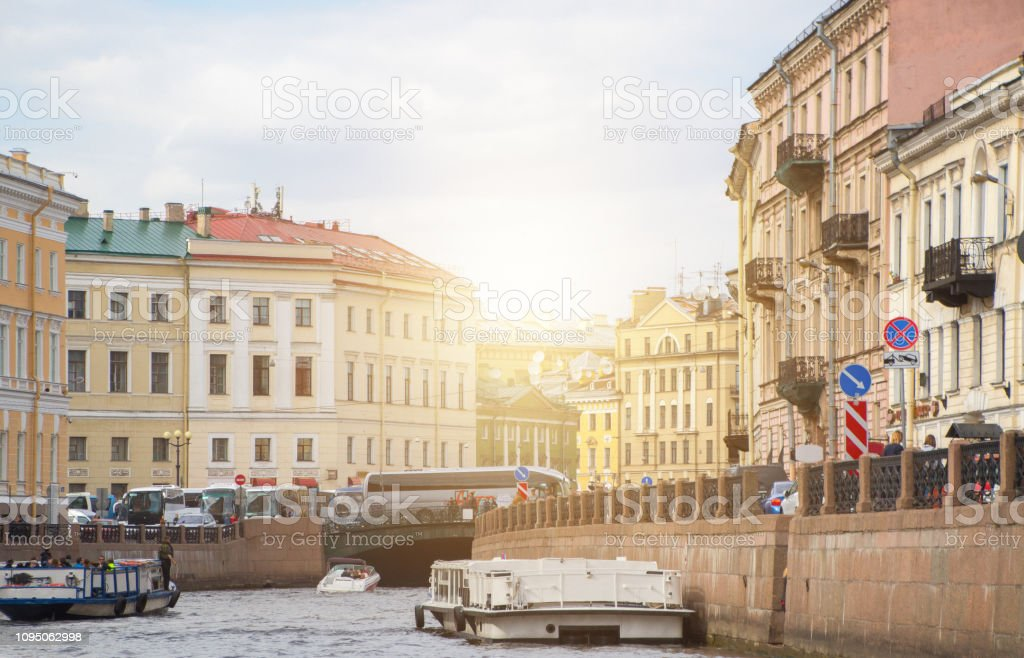 Embankment in Saint Petersburg, Russia stock photo