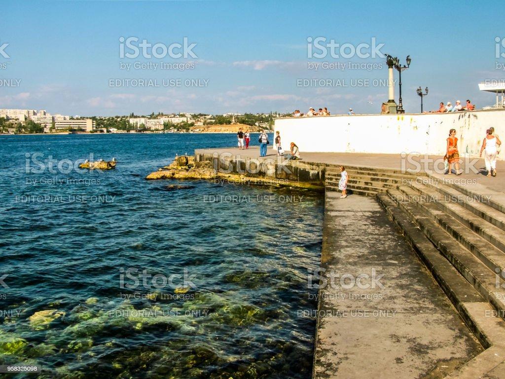 Embankment in Sevastopol stock photo