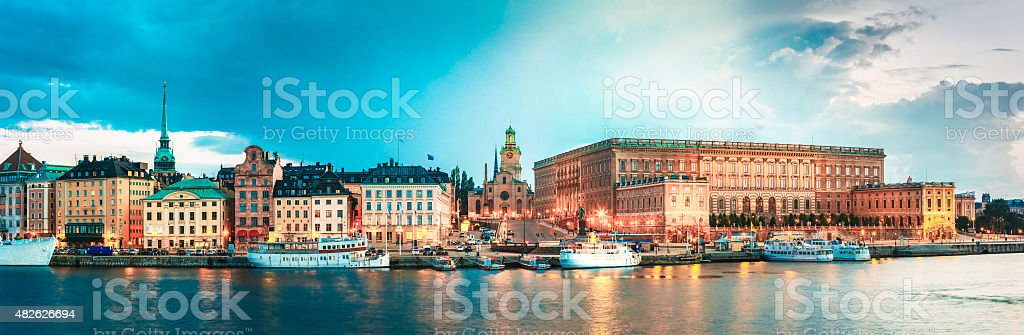 Embankment In Stockholm At Summer Day, Sweden stock photo