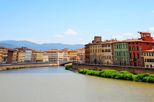 Embankment in the city of Pisa
