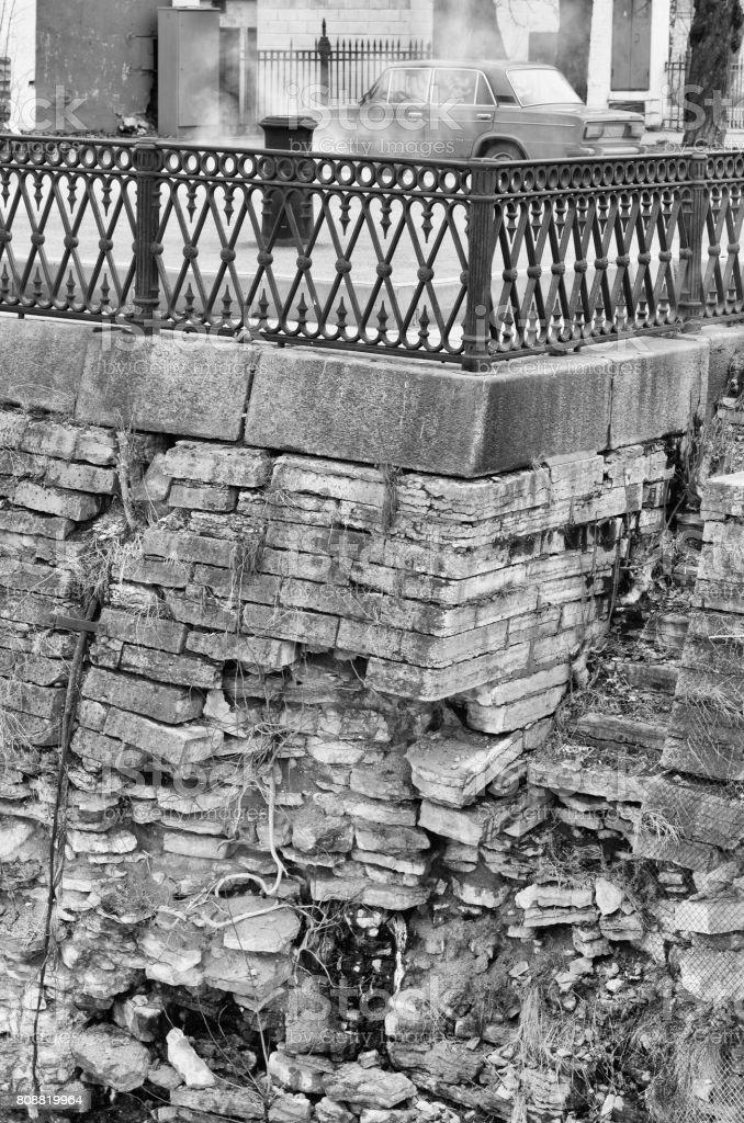 Embankment near Petrovsky dock in Kronstadt stock photo