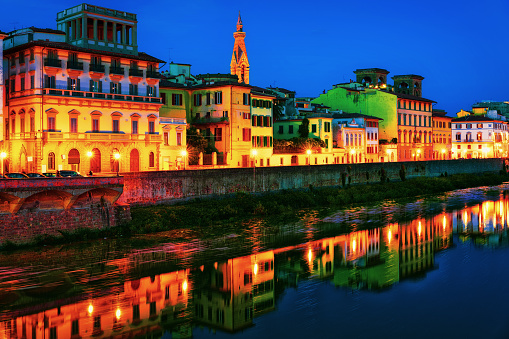 Embankment of Arno River in Florence night
