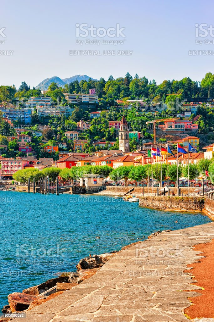 Embankment of Ascona in Ticino of Switzerland CH royalty-free stock photo