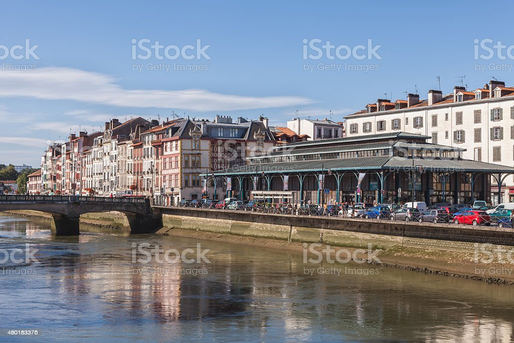 Embankment of Bayonne, France stock photo