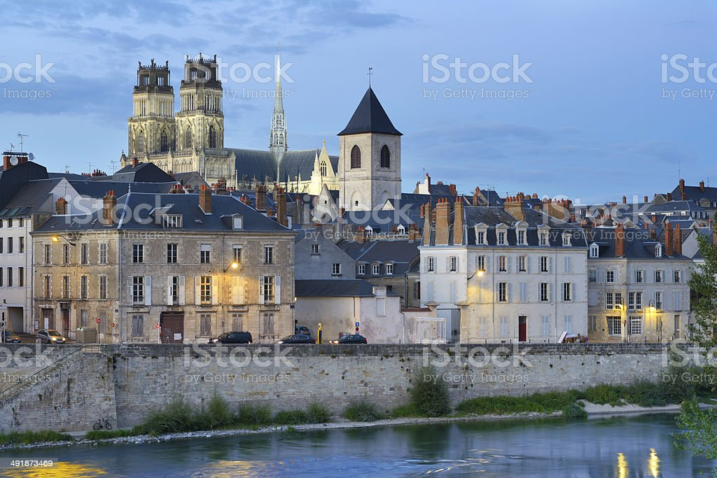 Embankment of Loire river in Orleans, France stock photo