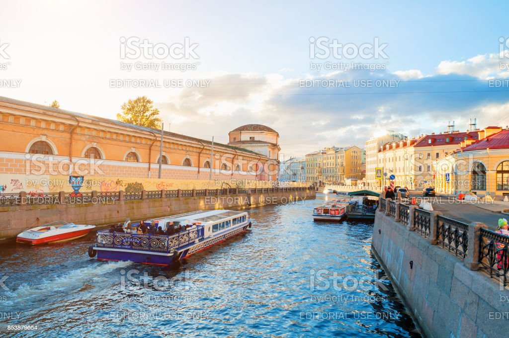 Embankment of Moika river at sunset in St Petersburg, Russia stock photo