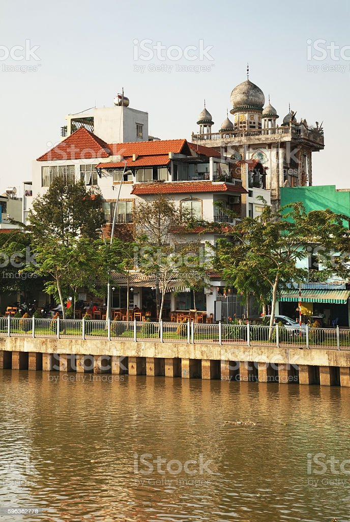 Embankment of Nhieu Loc channel in Ho Chi Minh. Vietnam royalty-free stock photo