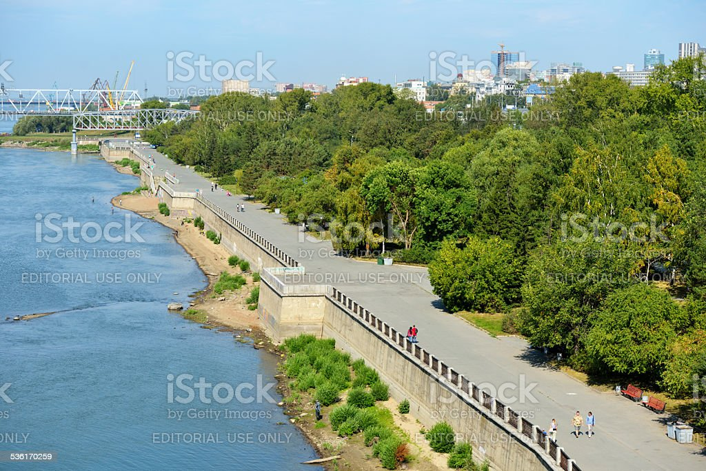 Embankment of Ob river in Novosibirsk, Russia stock photo