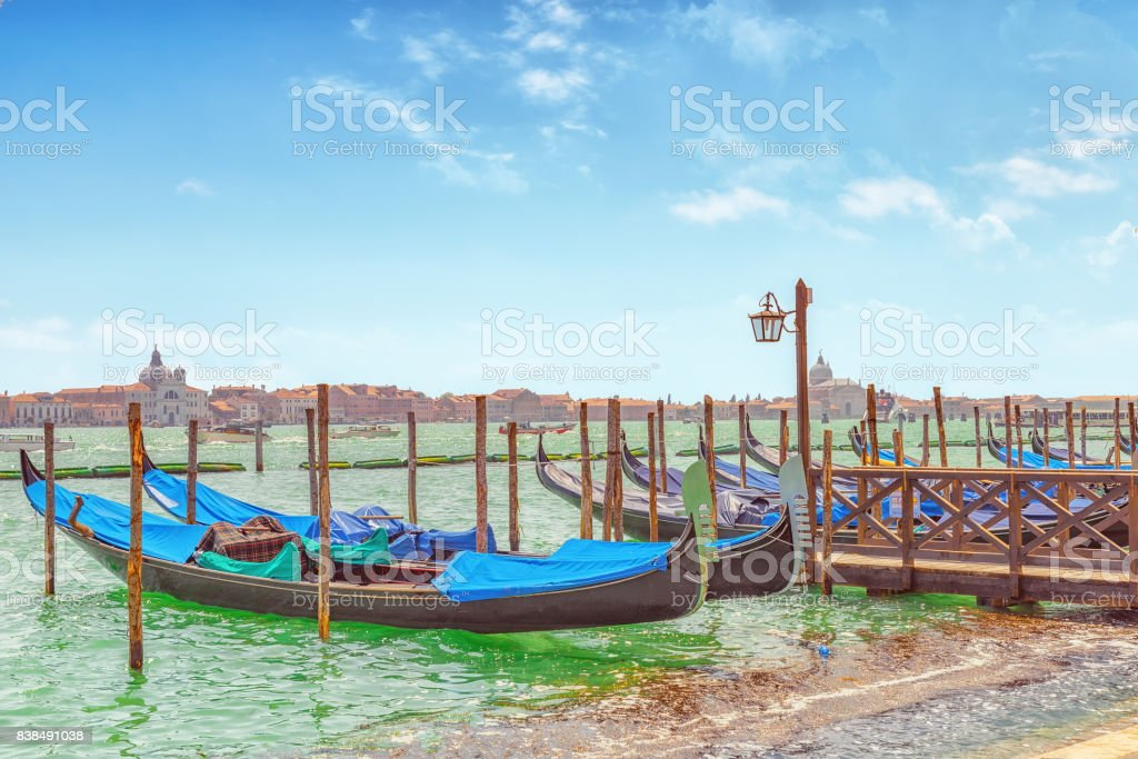 Embankment of the Grand Canal with Gondolas. Venice. stock photo