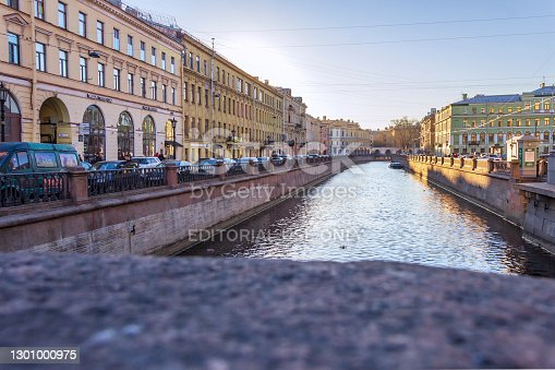 istock Embankment of the Griboyedov Canal. View from Nevsky Prospekt near the Kazan Cathedral. 1301000975
