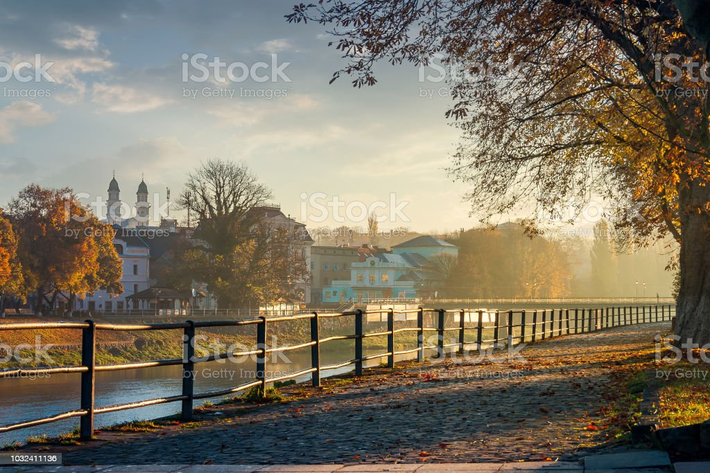 embankment of the river Uzh stock photo