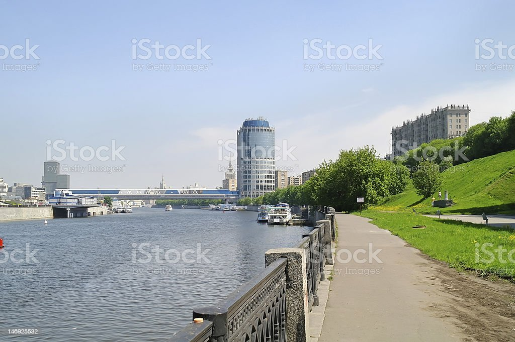 Embankment, the river is Moscow royalty-free stock photo