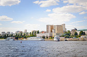 Embankment, view from the Volga River to the city of Saratov, Russia. Beautiful summer cityscape.