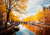 embankment of canal ring at spring, Amsterdam at fall, Netherlands