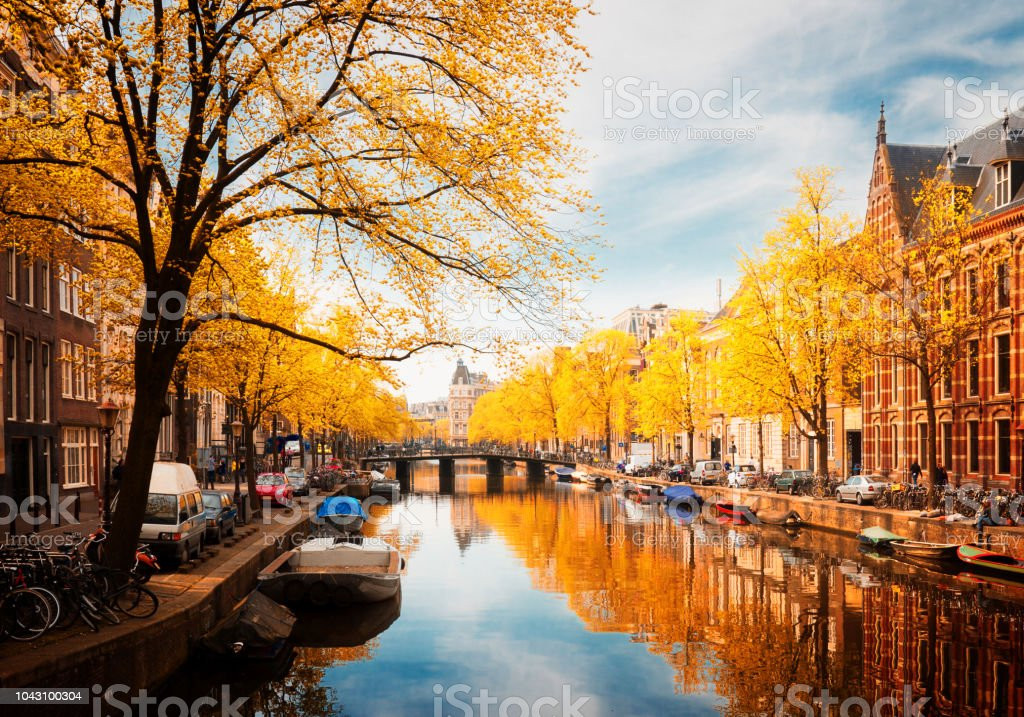 embanlment of canal ring, Amsterdam stock photo