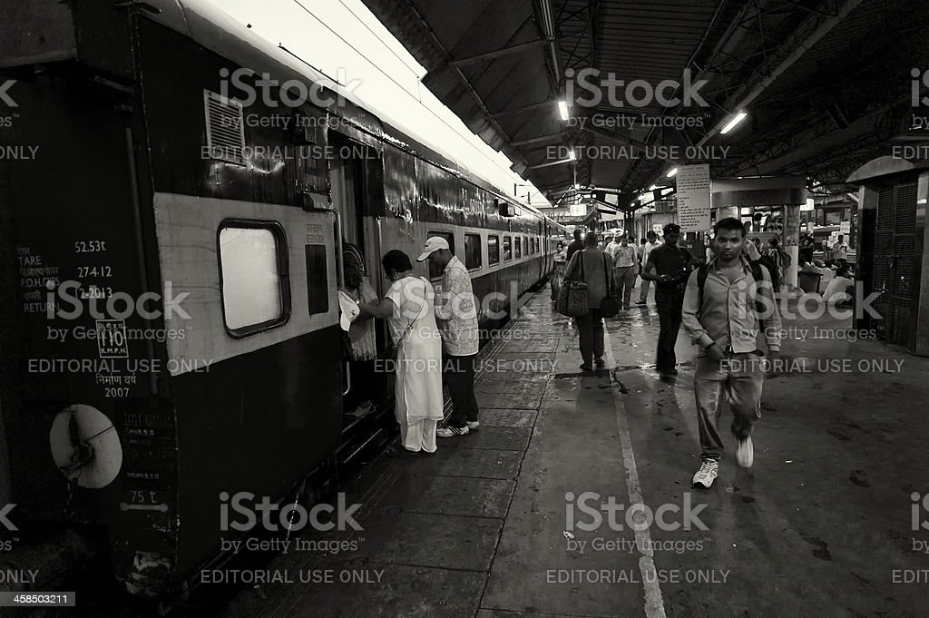 Embarking the Train in India royalty-free stock photo