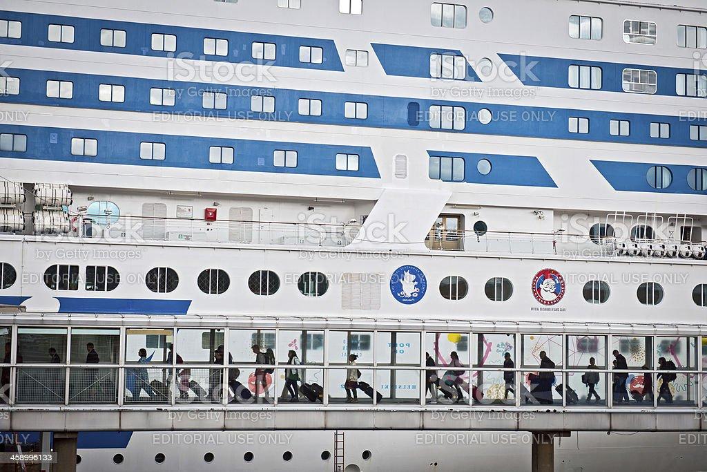 Embarking to Silja Line Cruise Ship Finland Europe royalty-free stock photo