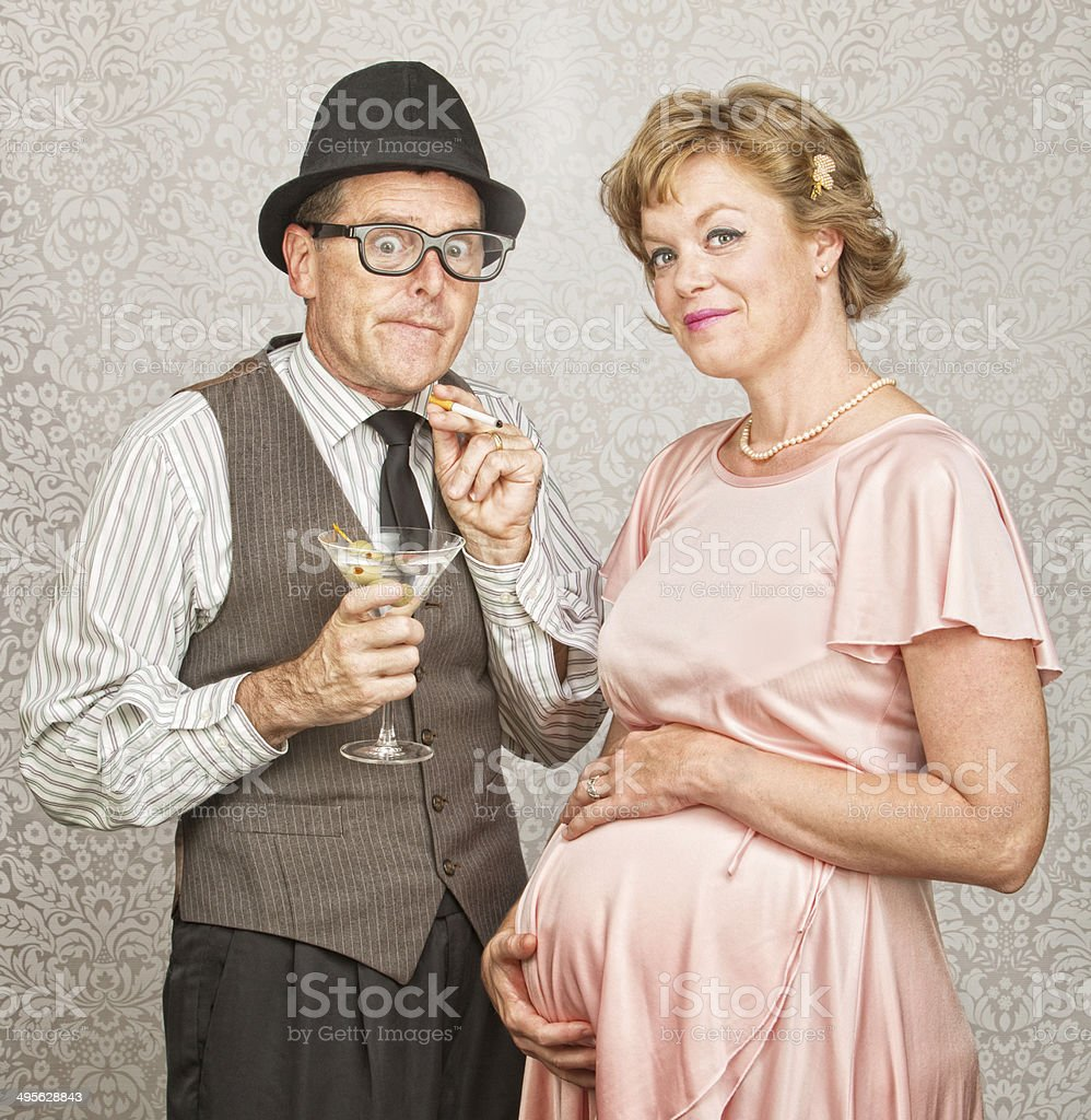 Embarrassed Smoker with Woman stock photo