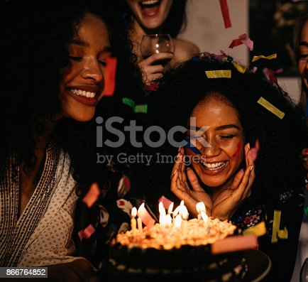 istock Embarrassed woman at her birthday party surrounded by friends 866764852