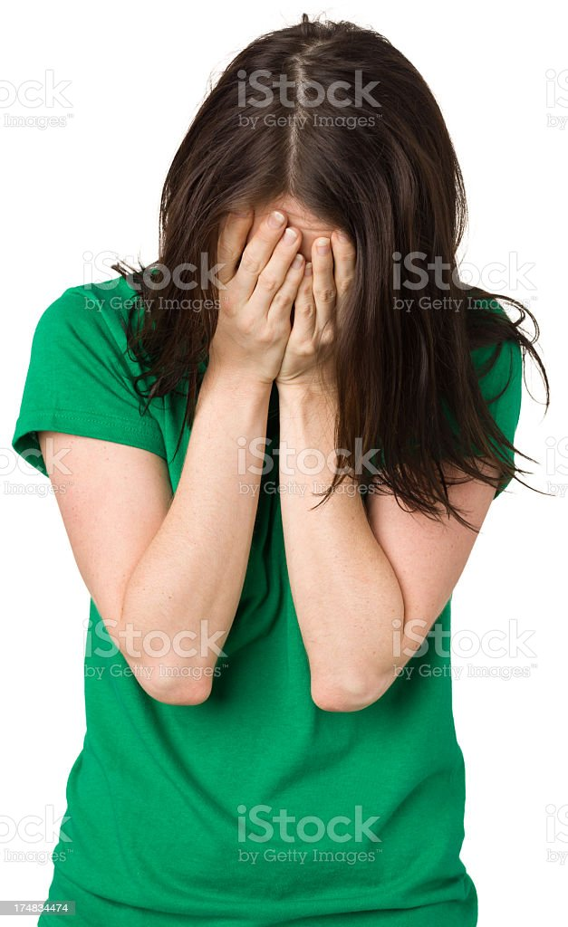 Embarrassed Woman Covering Face With Hands royalty-free stock photo