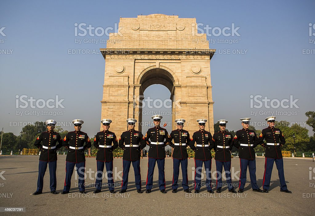 Embassy Guards India stock photo