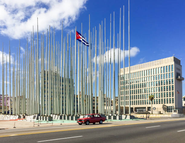 US Embassy in Havana Cuba Havana, Cuba November 7, 2015: Building of Embassy of the United States of America foreign affairs stock pictures, royalty-free photos & images