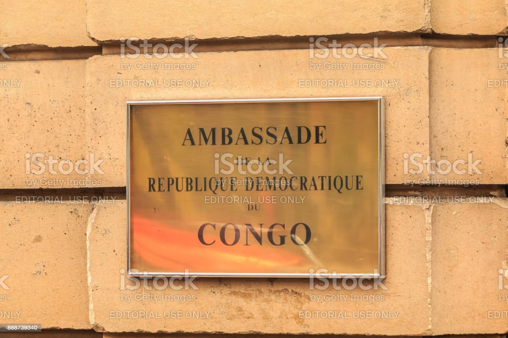 Embassy of the Democratic Republic of the Congo sign stock photo