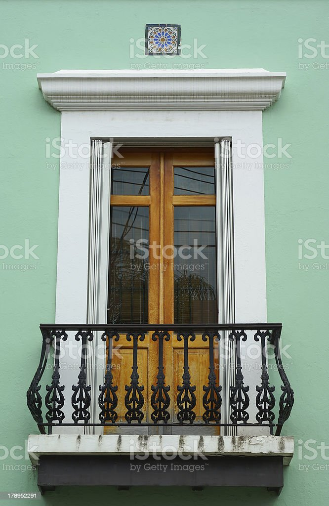 Embellished balcony door in Old San Juan royalty-free stock photo
