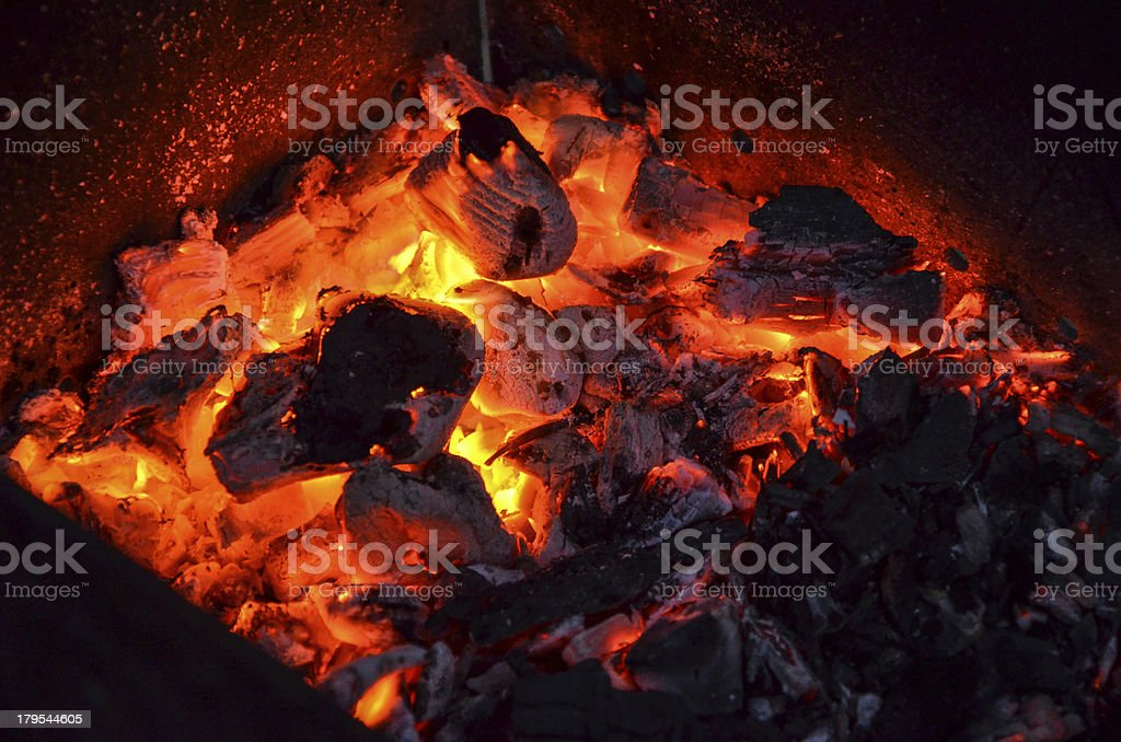 Ember in the brazier stock photo