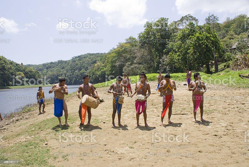 Embera Indians at Parara Puru stock photo