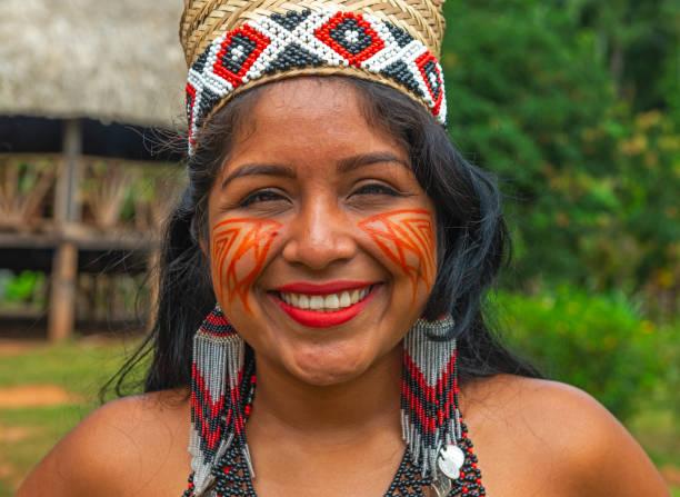 embera indigenous woman portrait, panama - embera indian women stock pictures, royalty-free photos & images