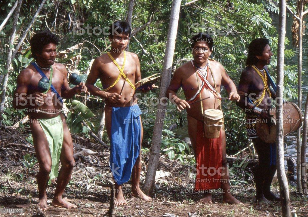 Embera men playing forest instruments, Panama stock photo