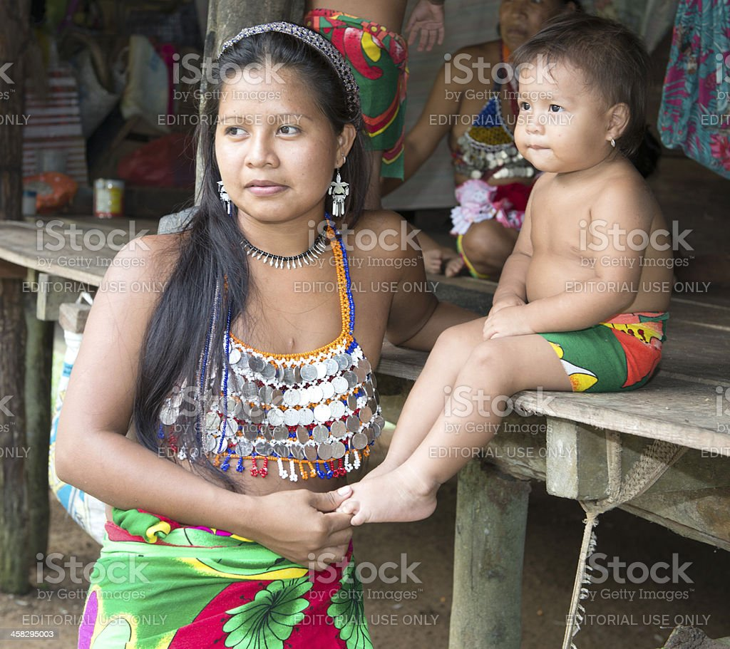 Embera mother and child stock photo