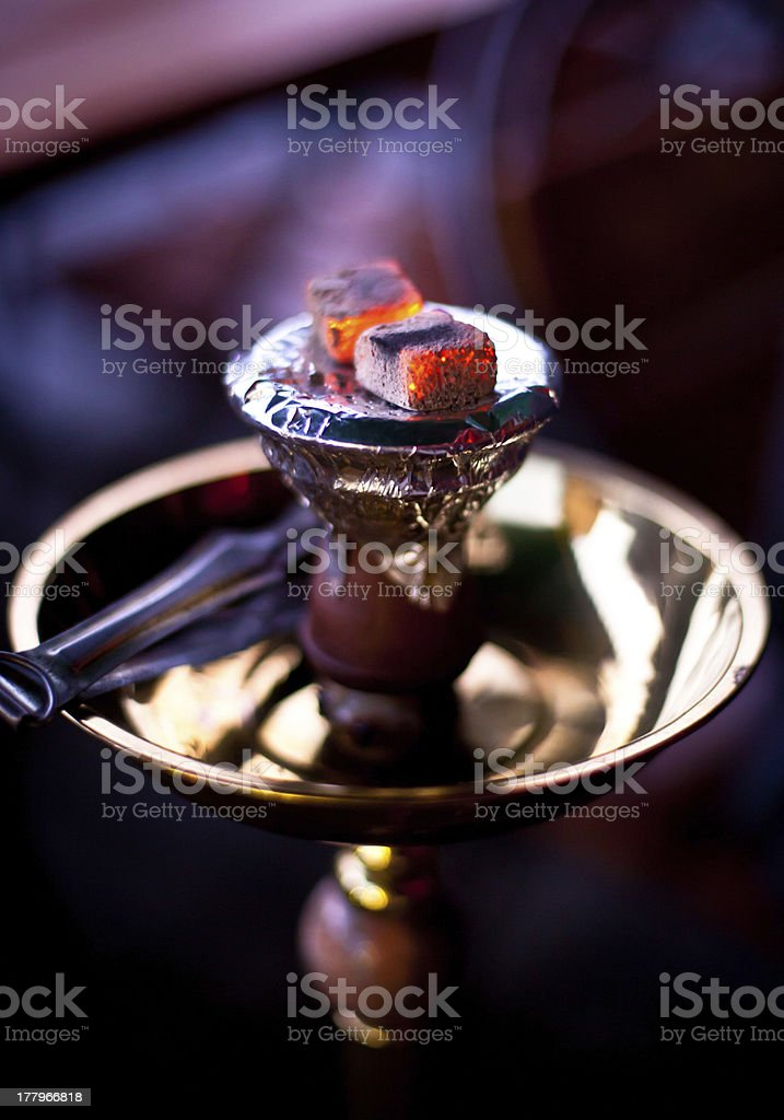 Embers on the hookah stock photo