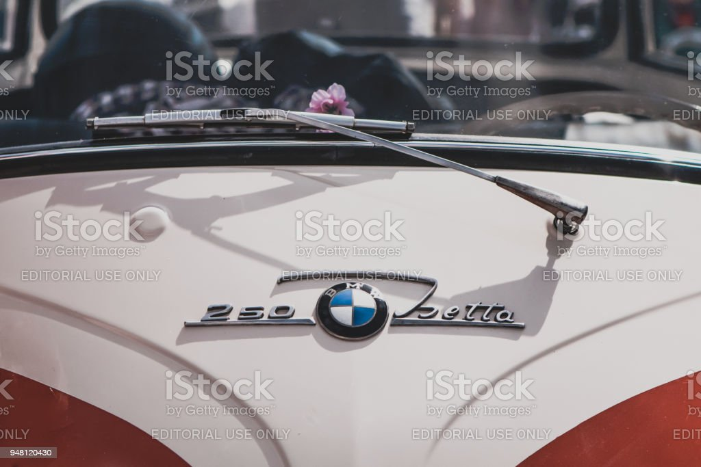 Emblem and front of a BMW Isetta 250 oldtimer car stock photo
