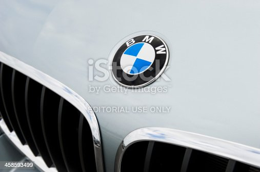Toronto, ON, Canada - August 1, 2011:  BMW emblem and trademark kidney grille on a X6 M SAC (Sports Activity Coupe) in Silverstone Metallic.