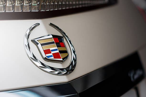 Emblem of Cadillac company on car stock photo