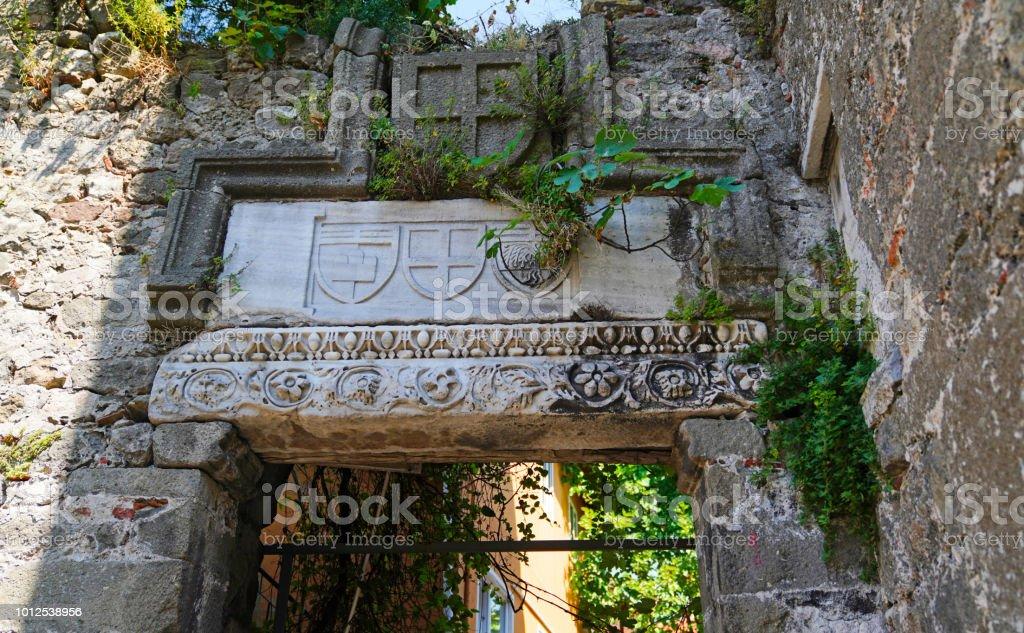 Amasra kale Ceneviz dönemine ait amblem kabartma stok fotoğrafı