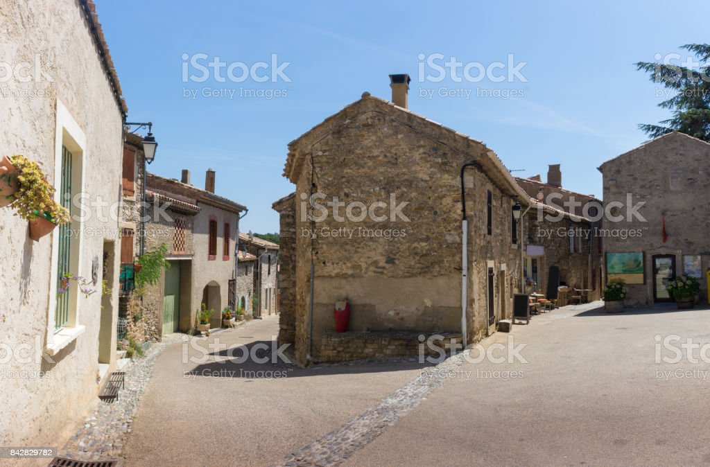 Emblematic streets of ancients french villages stock photo