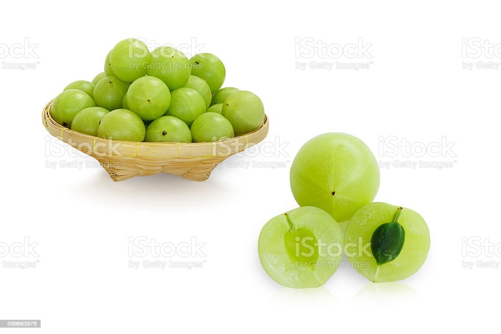 Emblica ,amla in basket stock photo