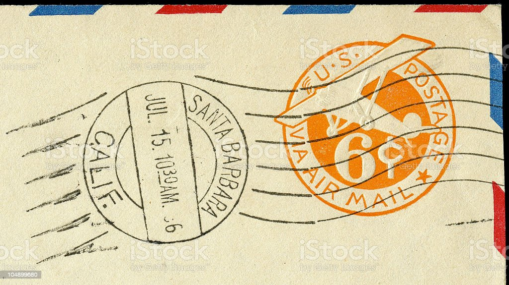 Embossed Air Mail Stamp royalty-free stock photo