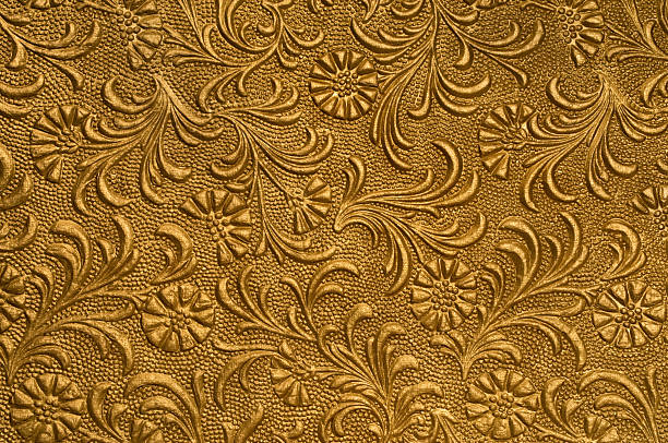 geprägtes blumenmuster-gold - brokat stock-fotos und bilder