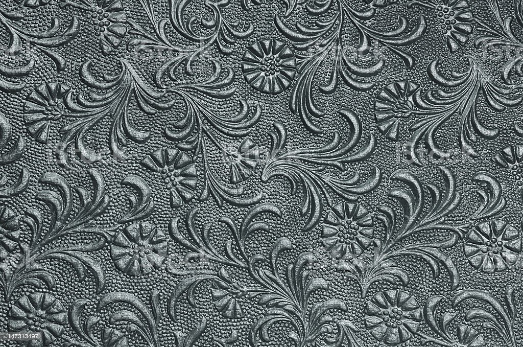 Embossed floral panel - pewter stock photo