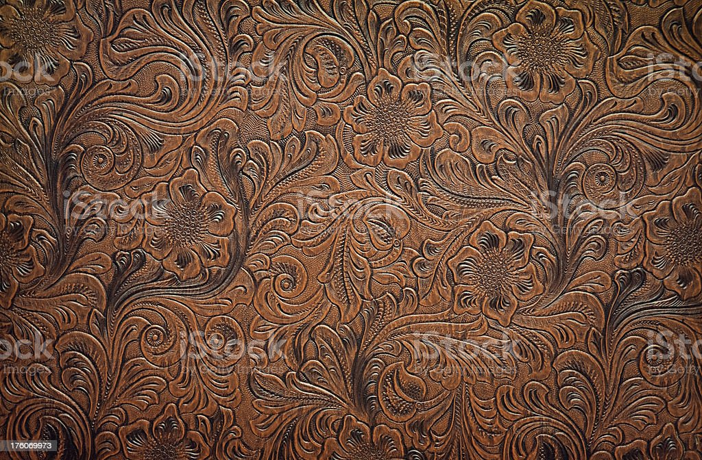 Embossed Leather Floral Pattern stock photo
