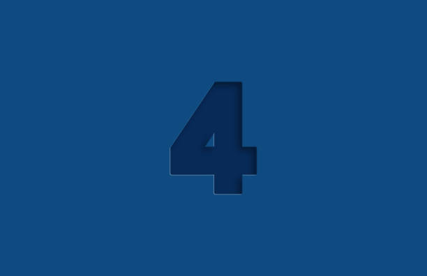 Embossed Number 4 On Blue Background stock photo