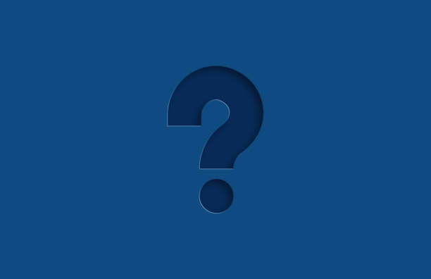 Embossed Question Mark icon on blue background stock photo