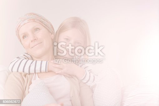 637119208 istock photo Embrace of cancer woman and daughter 836562672