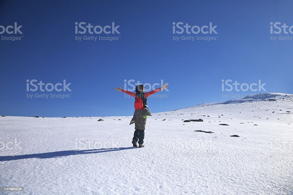 embrace red hiking woman stock photo